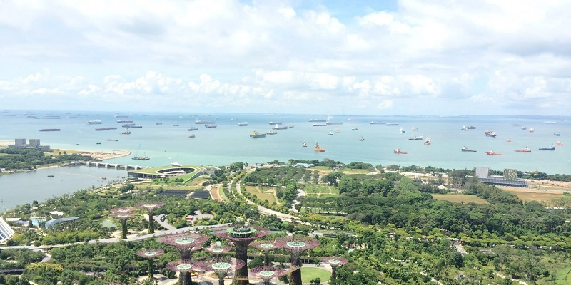 Ships at anchor off the Singapore coast, June 2014. MAP Staff photo.