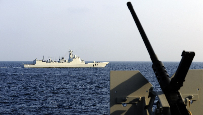 "PLA Navy destroyer DDG-171 ""Haikou"" in the Gulf of Aden, January 19, 2009, as seen from French Frigate ""Le Floreal."" STEPHANE DE SAKUTIN/AFP/Getty Images."
