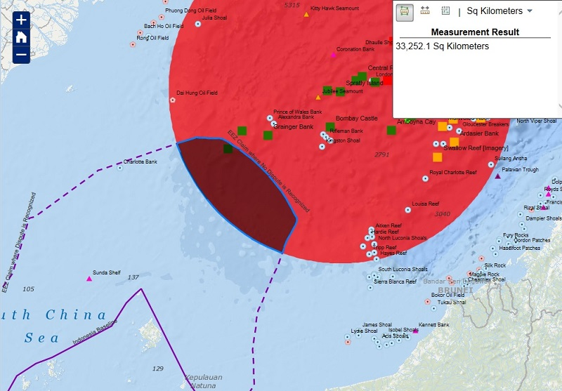 Map showing overlap between Indonesia's claimed exclusive economic zone and a hypothetical exclusive economic zone claimed from Spratly Island.
