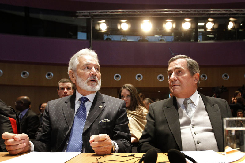 Nicaraguan Foreign Minister Samuel Santos (L) and Ambassador Carlos Jose Arguello Gomez at the International Court of Justice prior to the reading of the judgement in the territorial and maritime dispute between Nicaragua and Colombia, in The Hague on November 19, 2012. BAS CZERWINSKI/AFP/Getty Images.