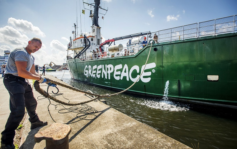 The <em>Arctic Sunrise</em> docks in The Netherlands in August 2014 after being released by Russian authorities. The protest vessel and its crew became in 2013 the focus of both proceedings at the International Tribunal on the Law of the Sea and an arbitration case in The Hague. REMKO DE WAAL/AFP/Getty Images.