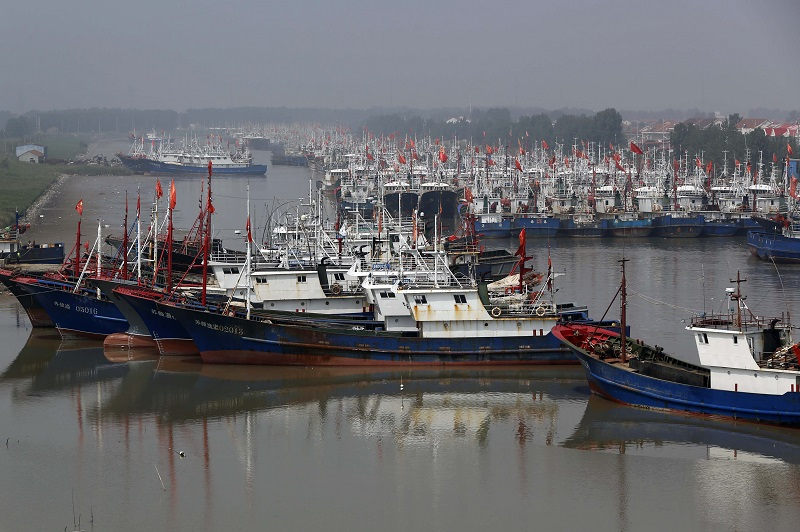 Fishing boats berthed on May 30, 2016, at a port in Lianyuangang, eastern China's Jiangsu province, at the start of a three-month fishing moratorium. STR/AFP/Getty Images.